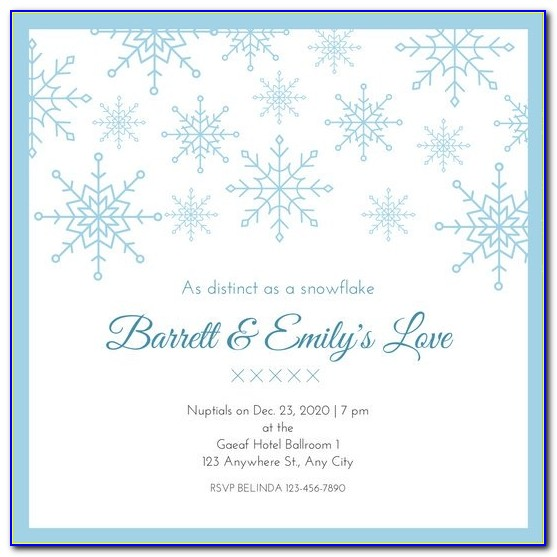 Blue White Snowflake Wedding Invitation Templates Canva Snowflake Invitation Template Snowflake Invitation Template