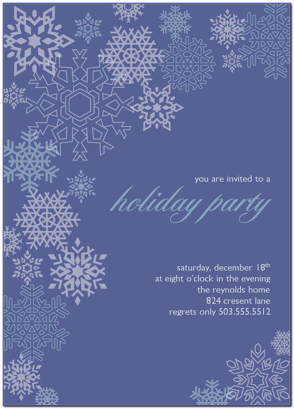 Snowflake Invitation Card Template