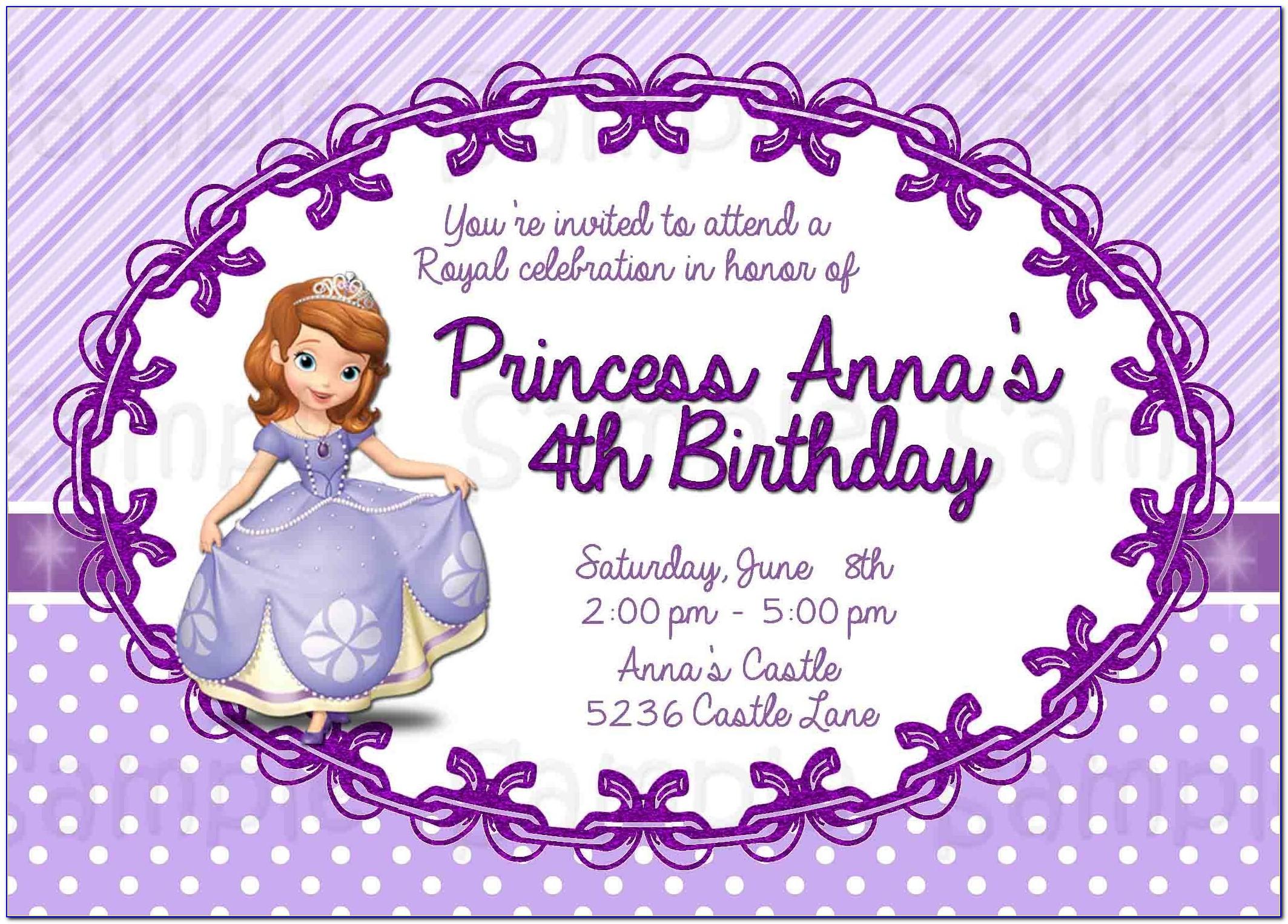 Sofia The First Birthday Invitation Template Free