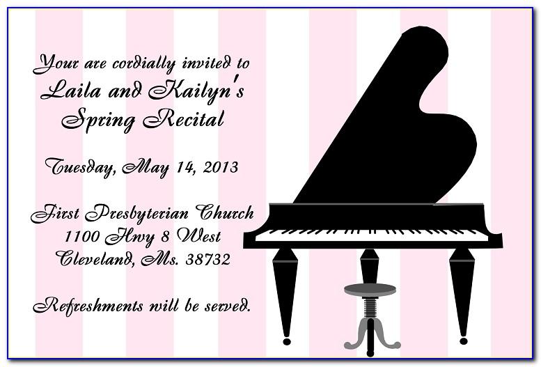 Spring Piano Recital Invitation Template Free