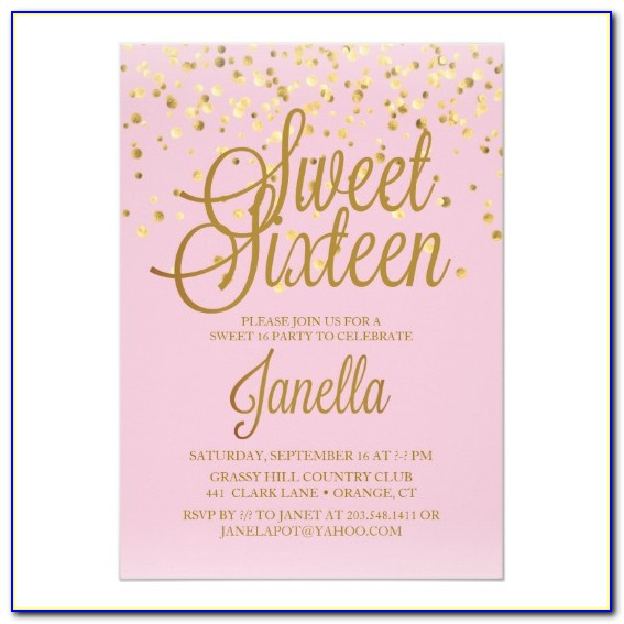 Sweet 16 Invitations Templates