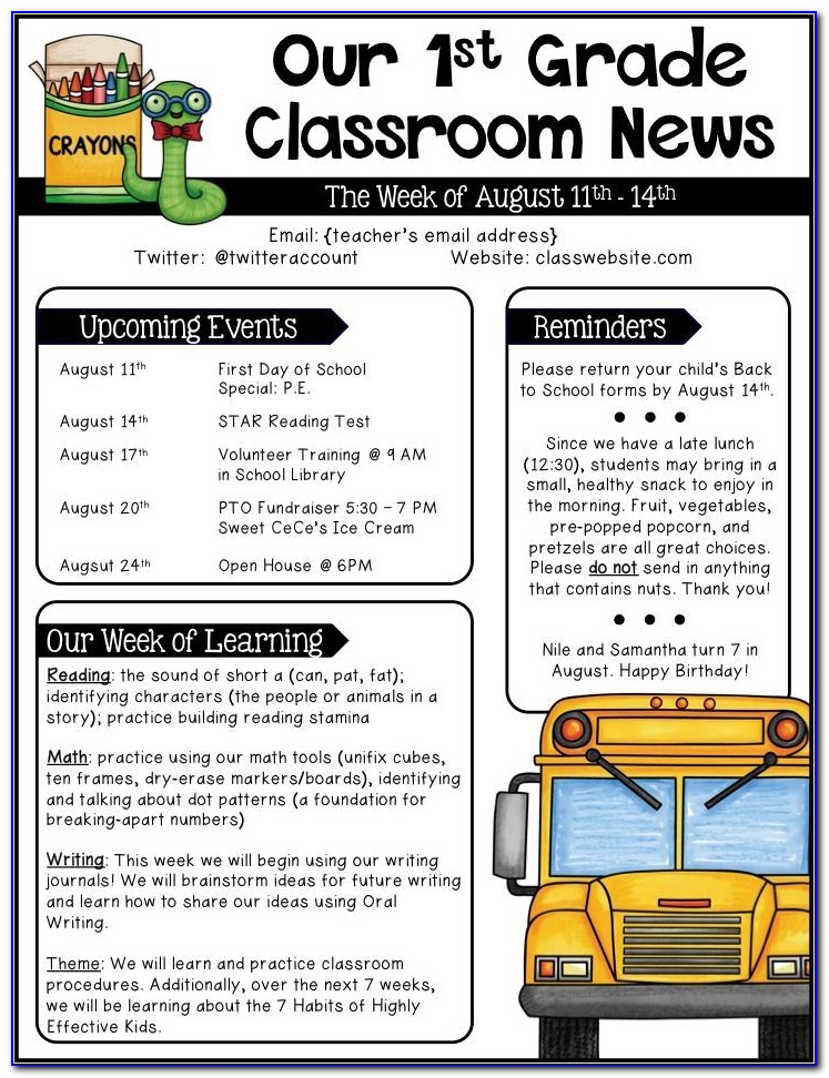 Teacher Newsletter Templates Middle School