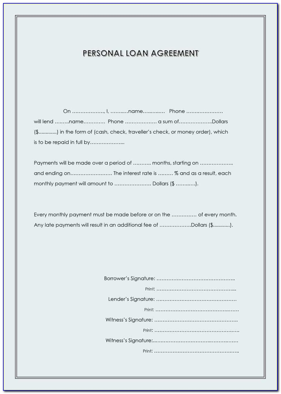 Template Contract For Loan Of Money