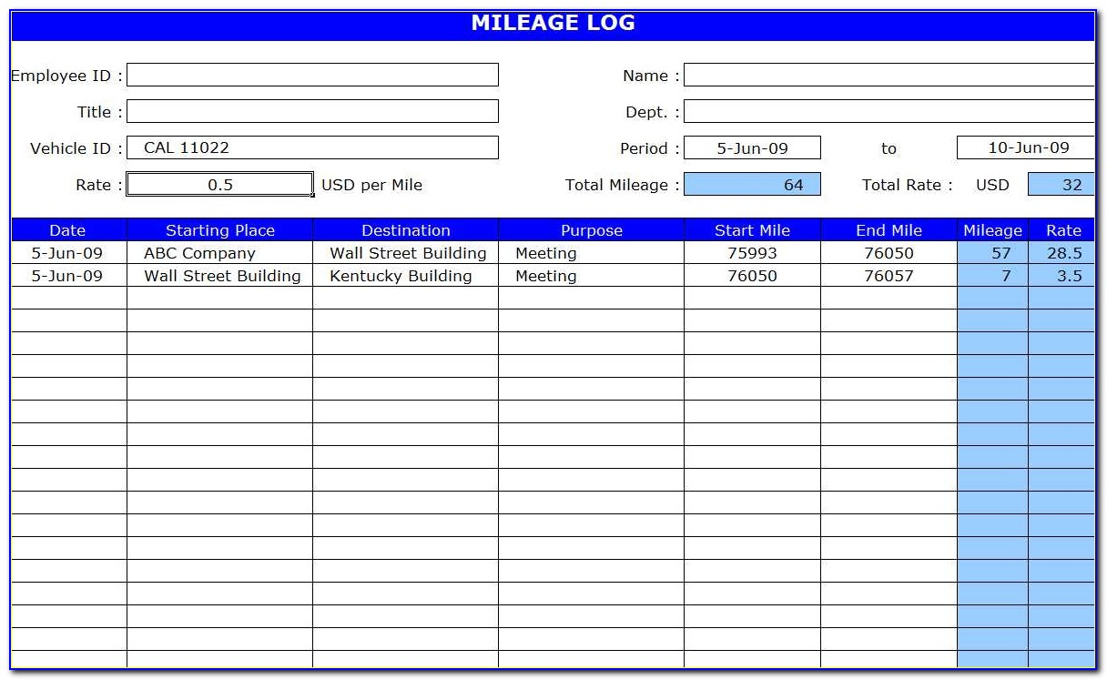 Template For Car Mileage Log