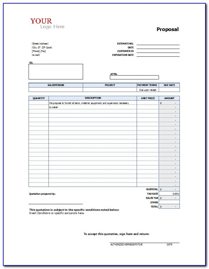 Template For Job Proposal In Construction