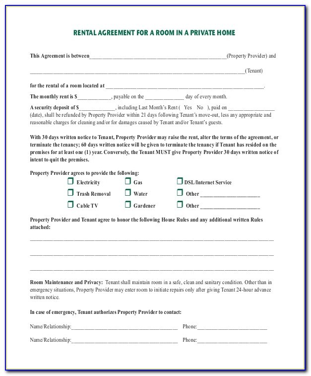 Tenancy Agreement Template For Room To Rent