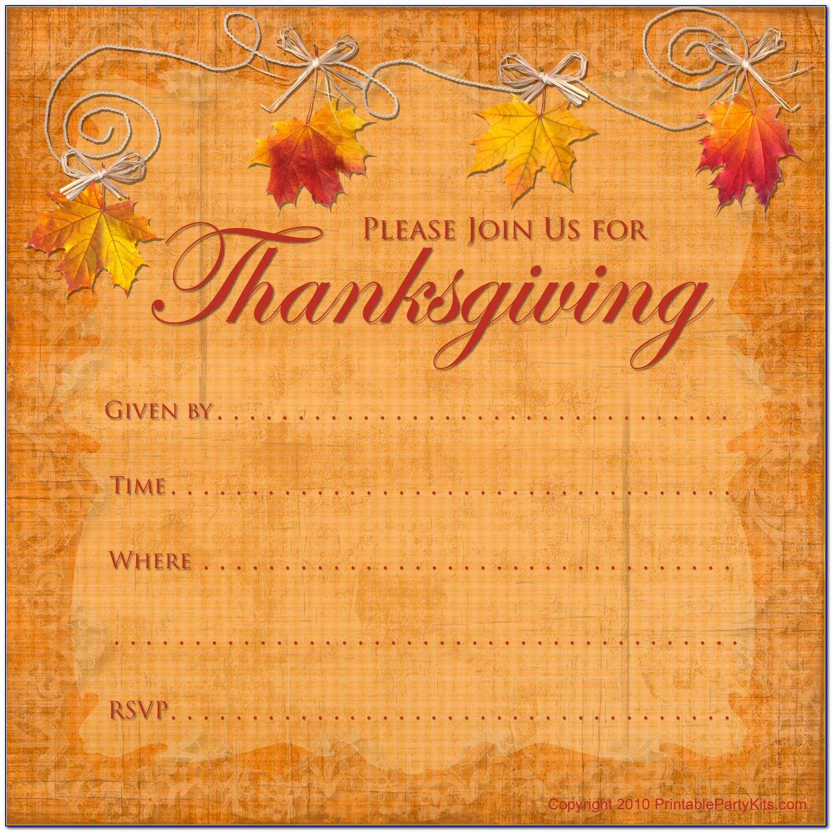 Thanksgiving Invitation Samples
