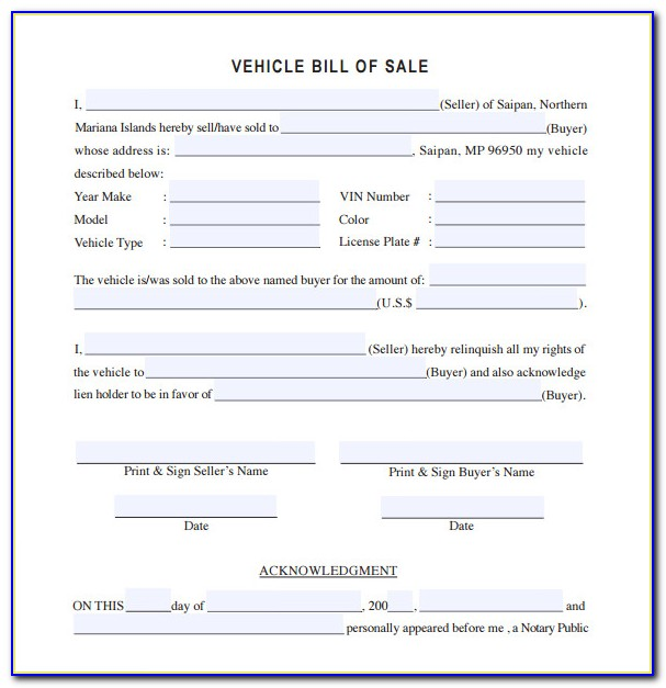 Vehicle Bill Of Sale Template Fillable Pdf Free