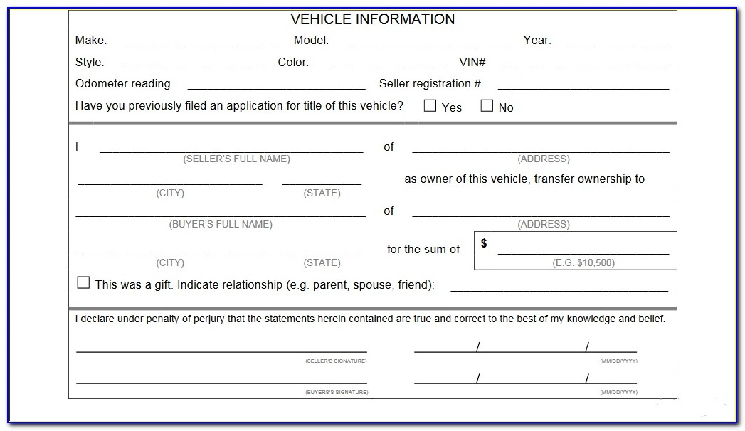 Vehicle Bill Of Sale Template Fillable Pdf Texas