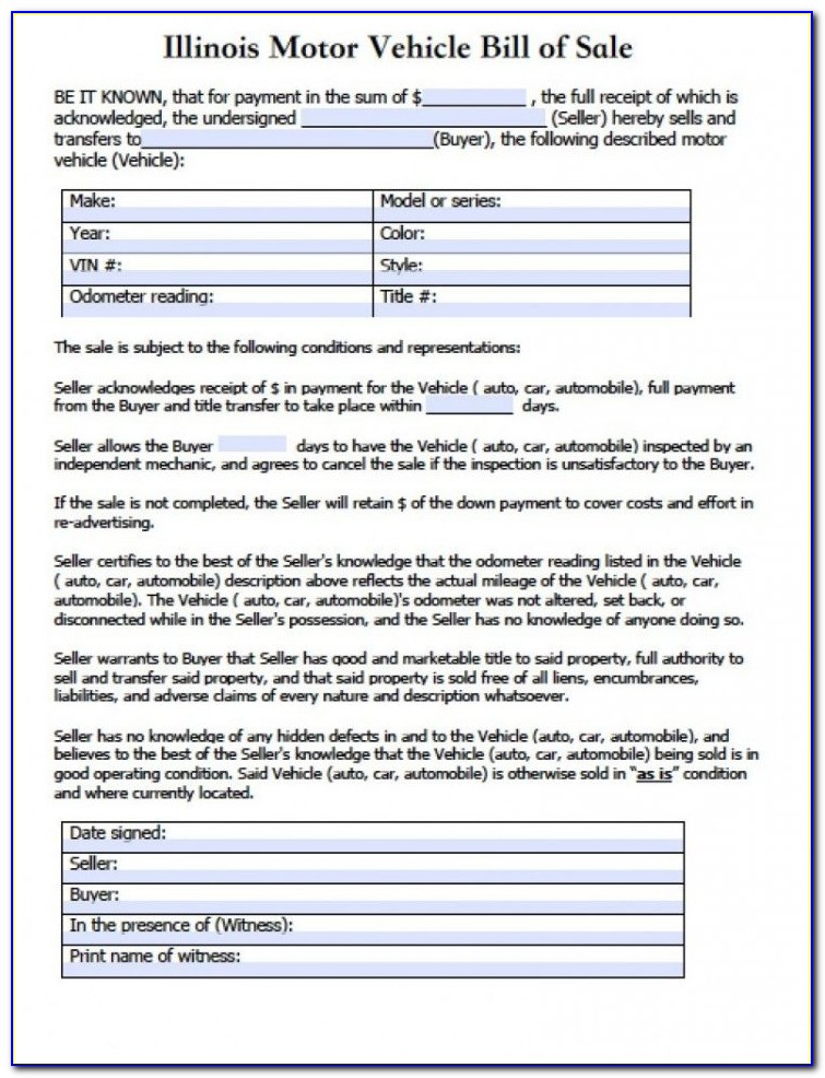Vehicle Bill Of Sale Template Fillable Pdf Uk