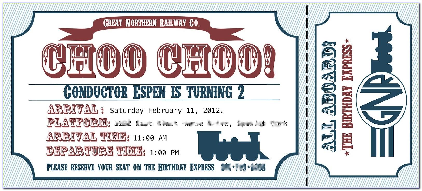 Vintage Train Ticket Wedding Invitation Template