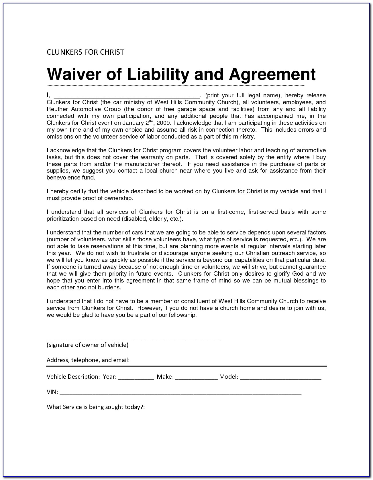 Waiver Of Liability Form Template Free