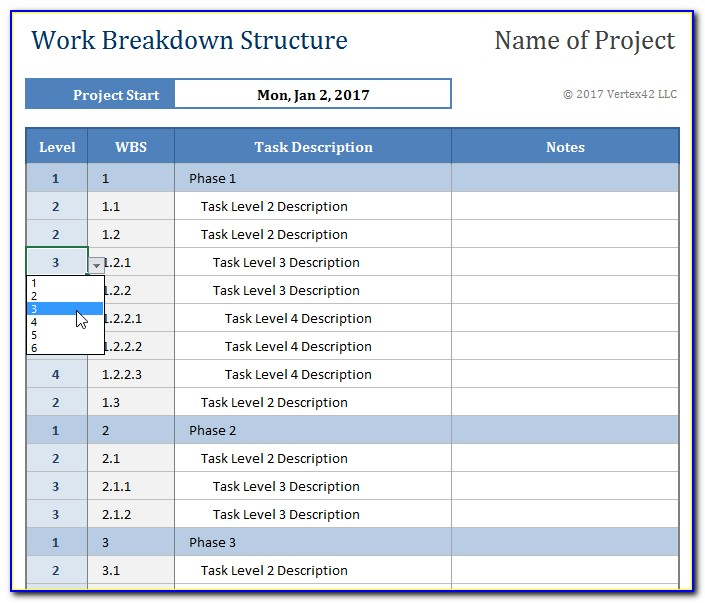Wbs In Project Management Template