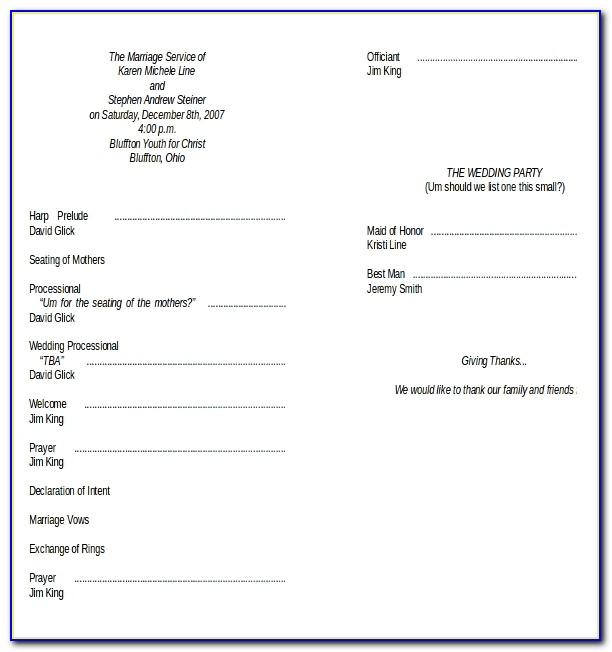 Wedding And Reception Program Templates
