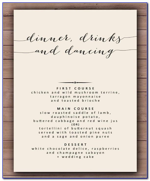 Wedding Dinner Menu Template Download