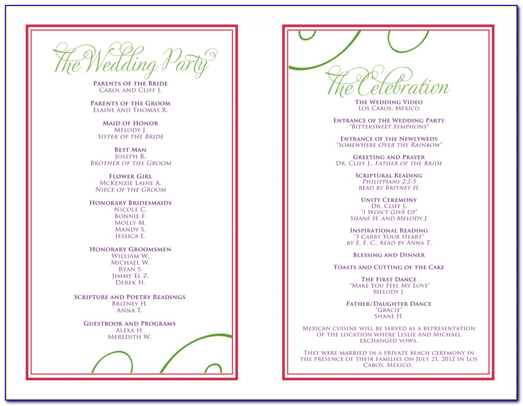 Wedding Itinerary Template For Dj