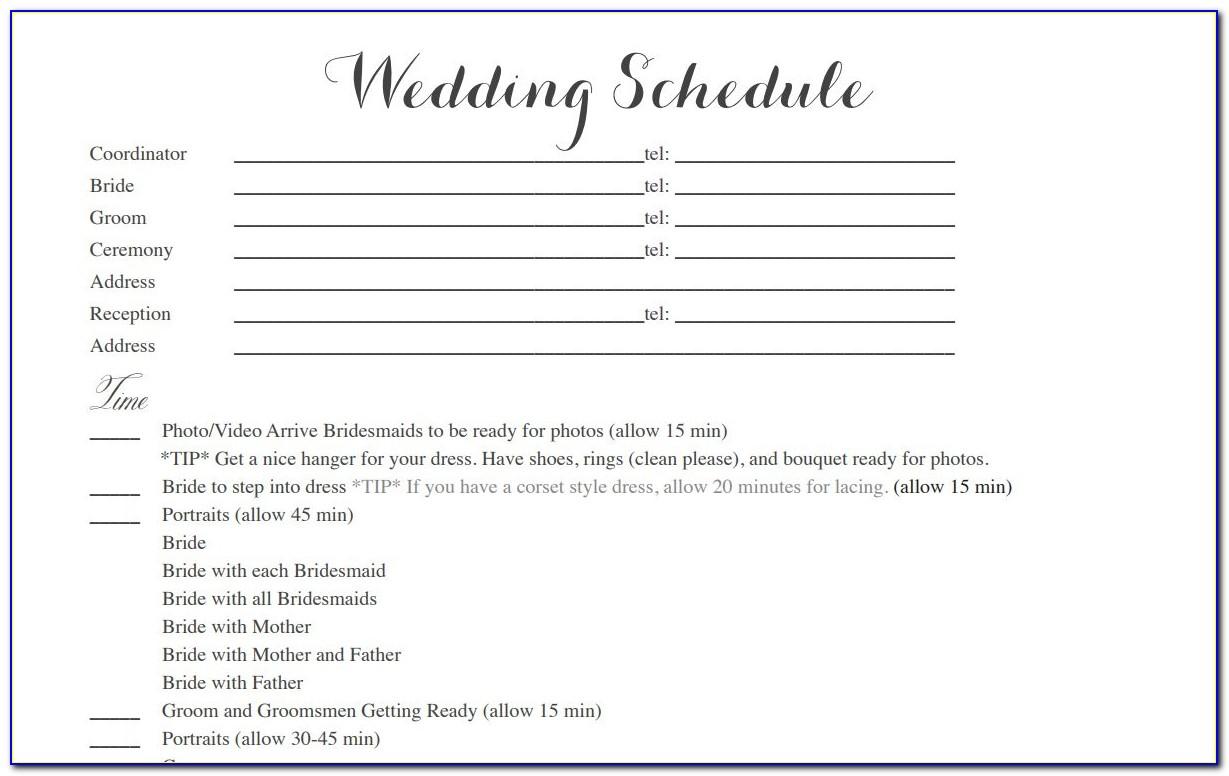 Wedding Itinerary Template Pdf