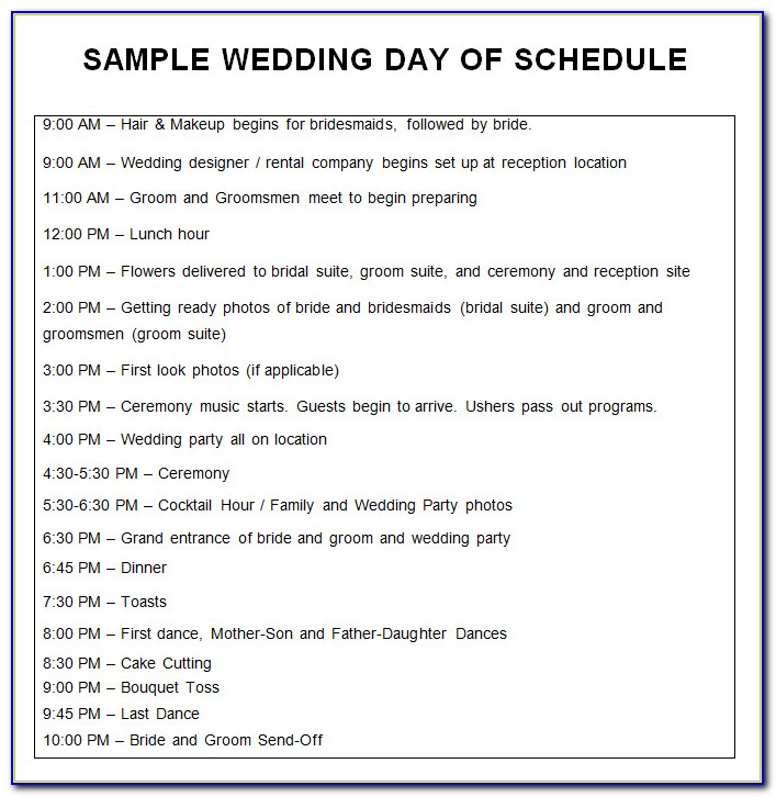 Wedding Itinerary Template Word Free