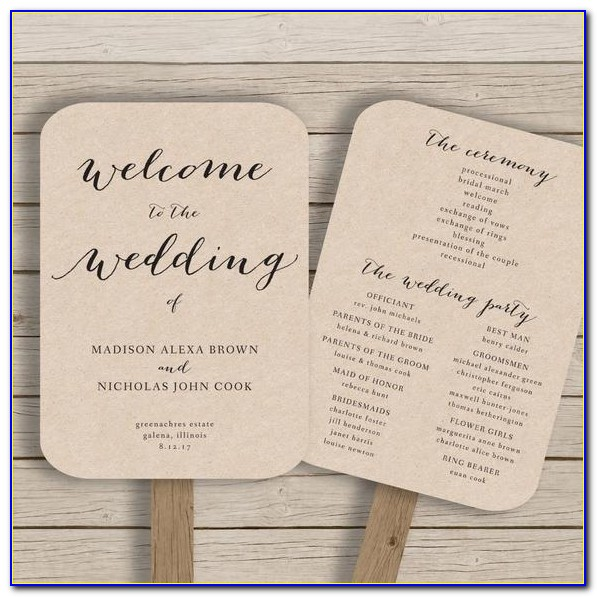 Wedding Program Paddle Fan Template Free