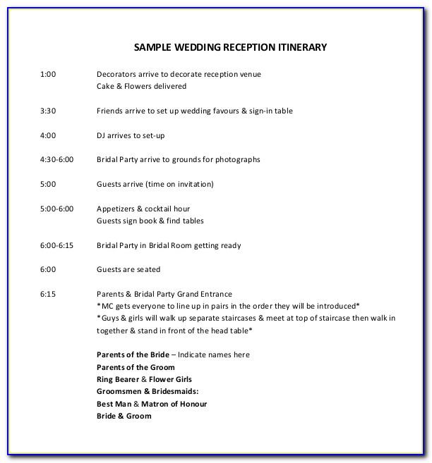 Wedding Reception Program Layout