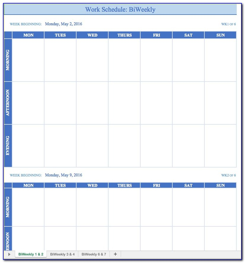 Weekly Work Schedule Template Printable