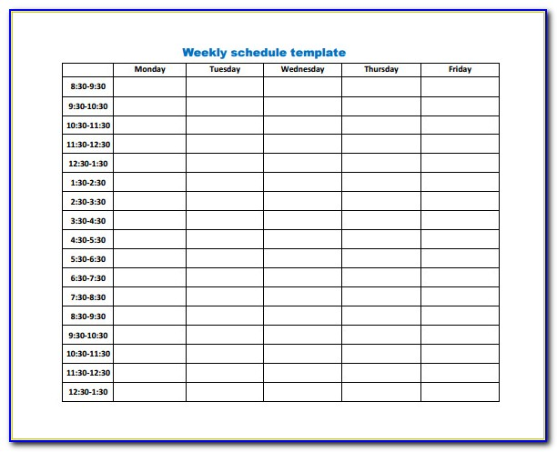 Weekly Work Schedule Template Word