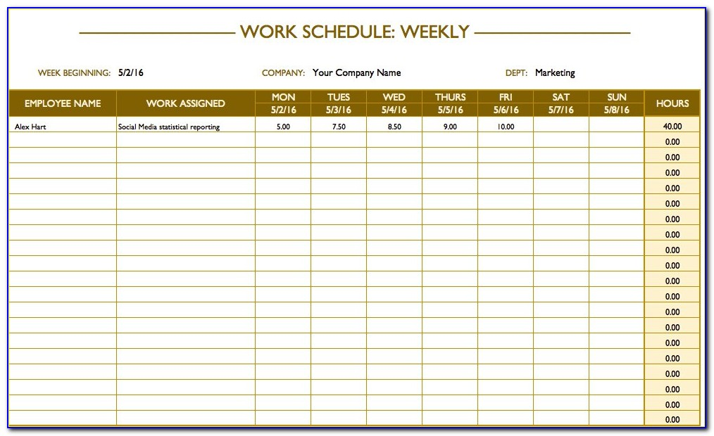 Weekly Work Schedule Template Xls