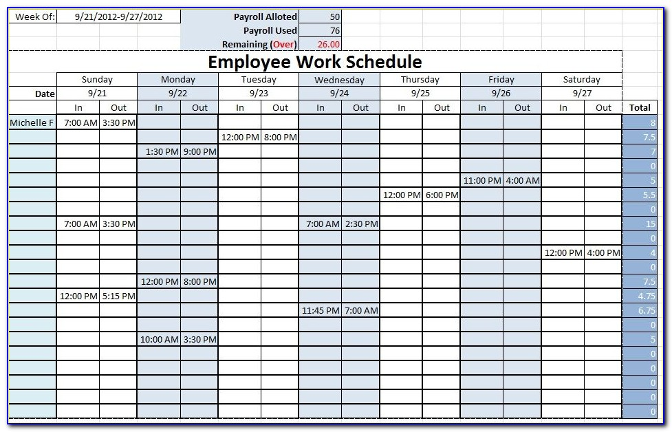 Work Schedule Template Excel Weekly
