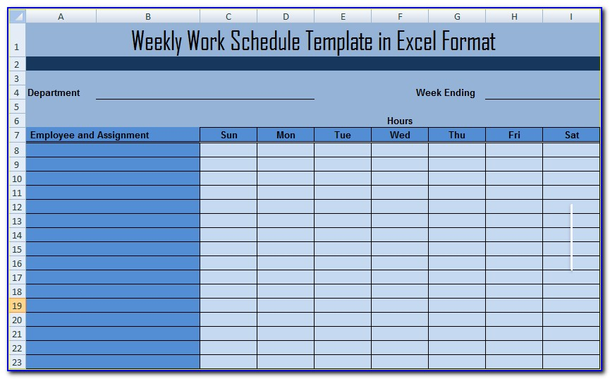 Work Schedule Template Google Sheets
