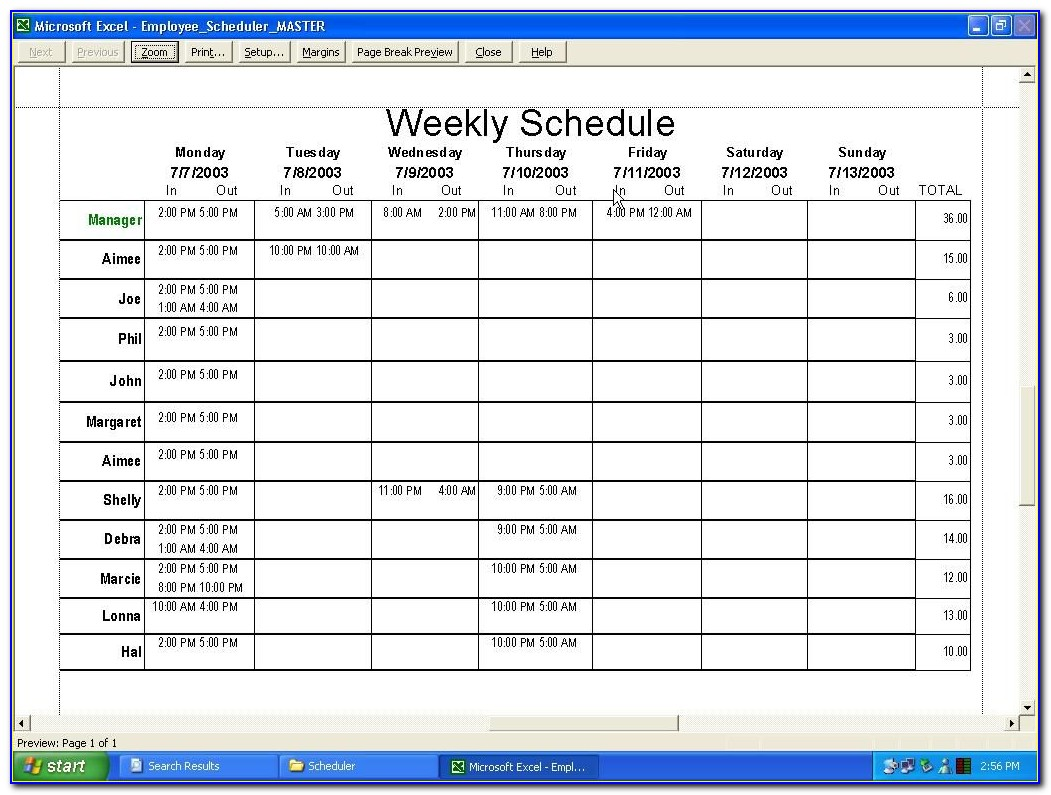 Work Schedule Template Monthly