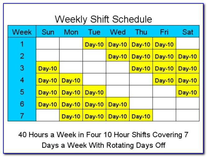 4 10 Hour Shift Schedule Templates