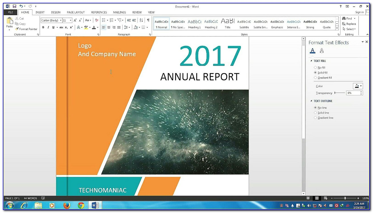 Annual Report Design Template Free