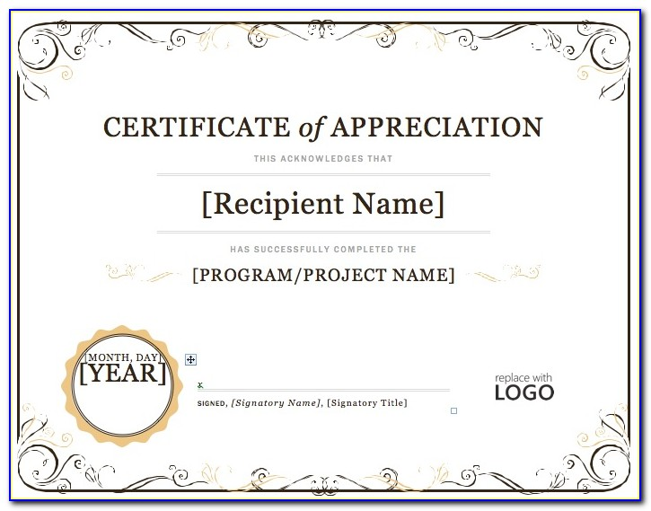 Appreciation Certificate Template Powerpoint