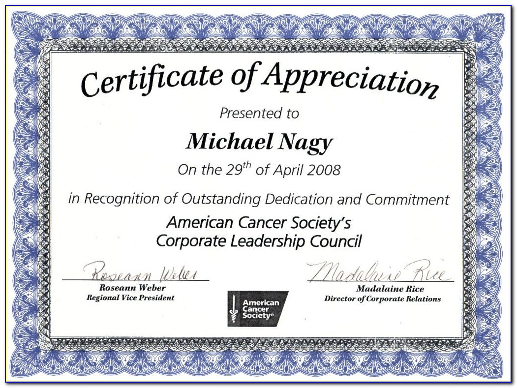 Appreciation Certificate Template Psd