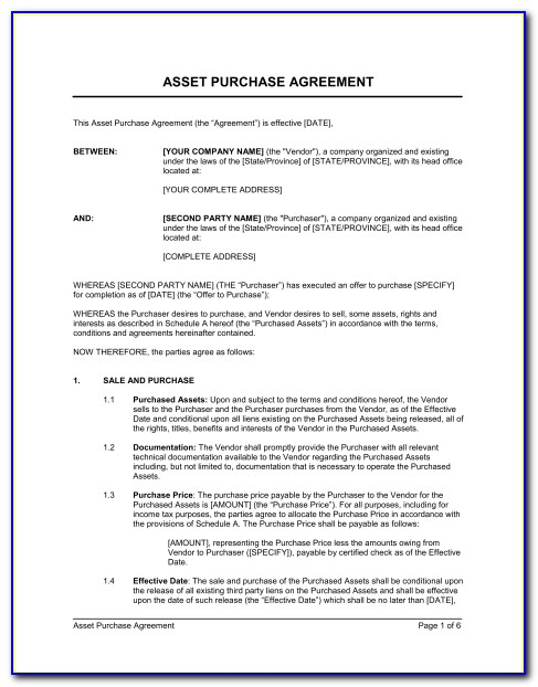 Asset Purchase Agreement Template Word