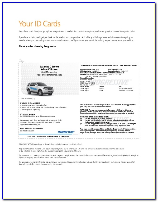 Auto Insurance Card Template Nj