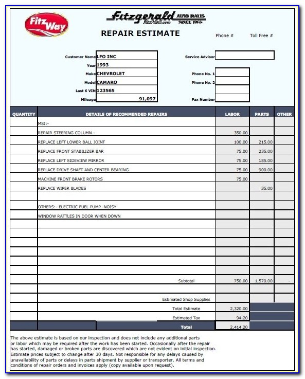 Auto Mechanic Estimate Form