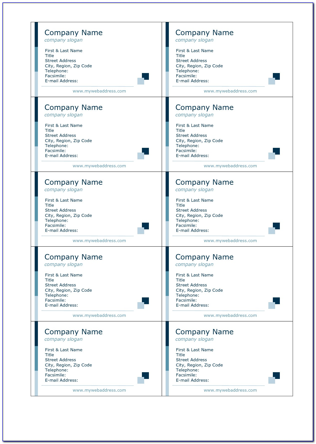 Avery Business Card Template Word 5871