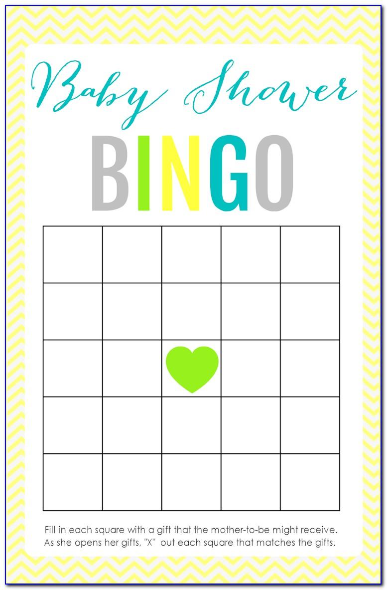 Baby Shower Bingo Cards Blank