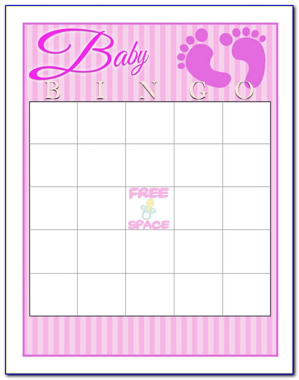 Baby Shower Bingo Template Free