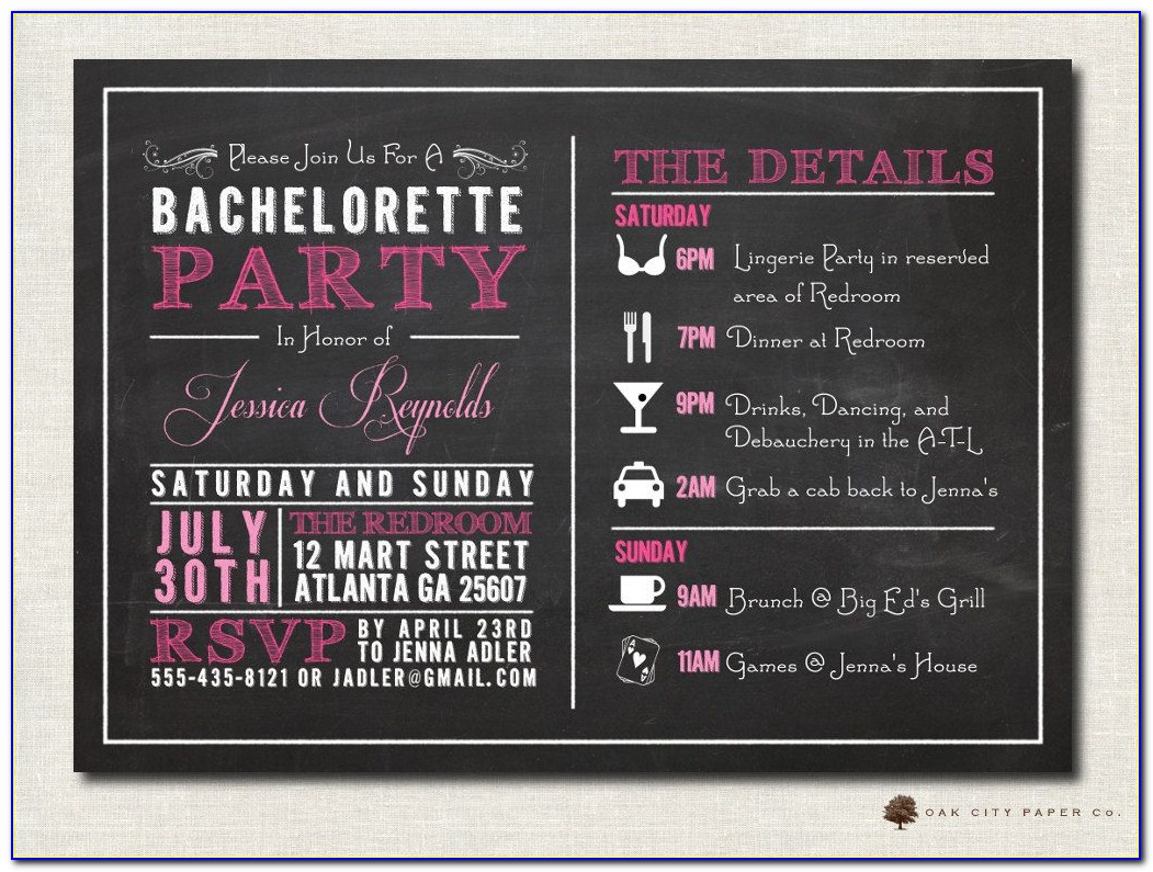 Bachelorette Party Itinerary Template Online