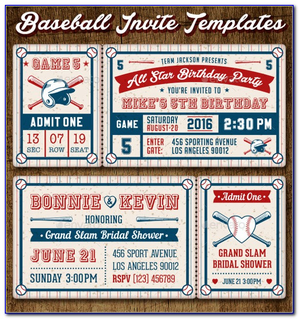 Baseball Ticket Invitation Template Free