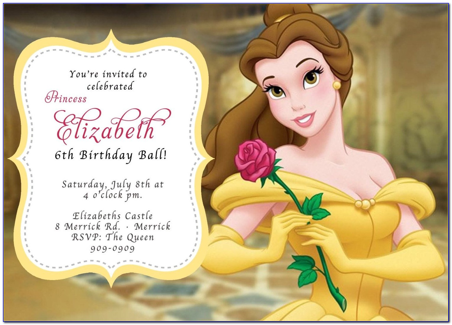 Beauty And The Beast Mirror Invitation Template