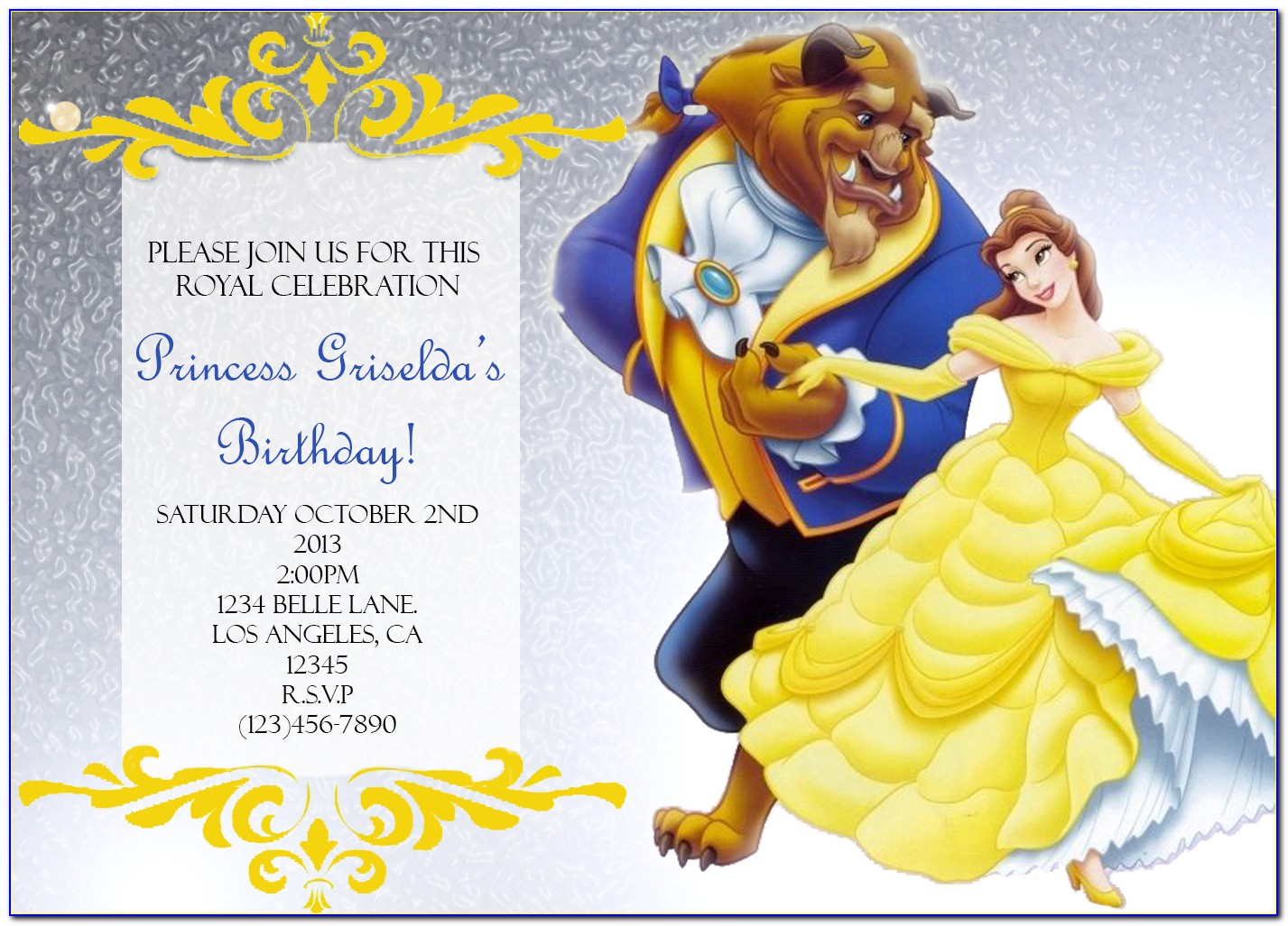 Beauty And The Beast Party Invitation Templates