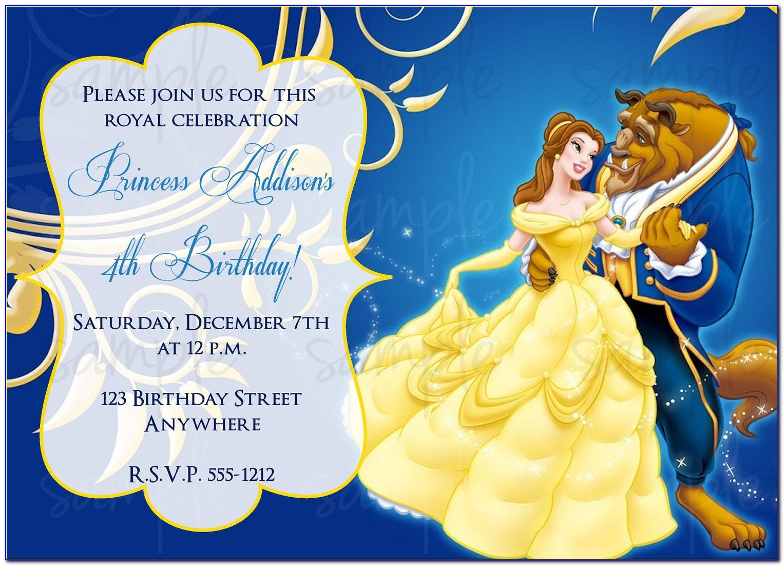 Beauty And The Beast Rose Invitation Template