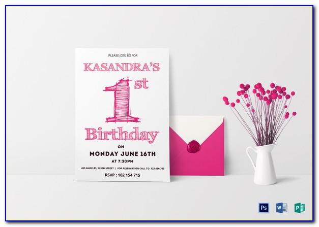 Birthday Invitation Card Template For Girl