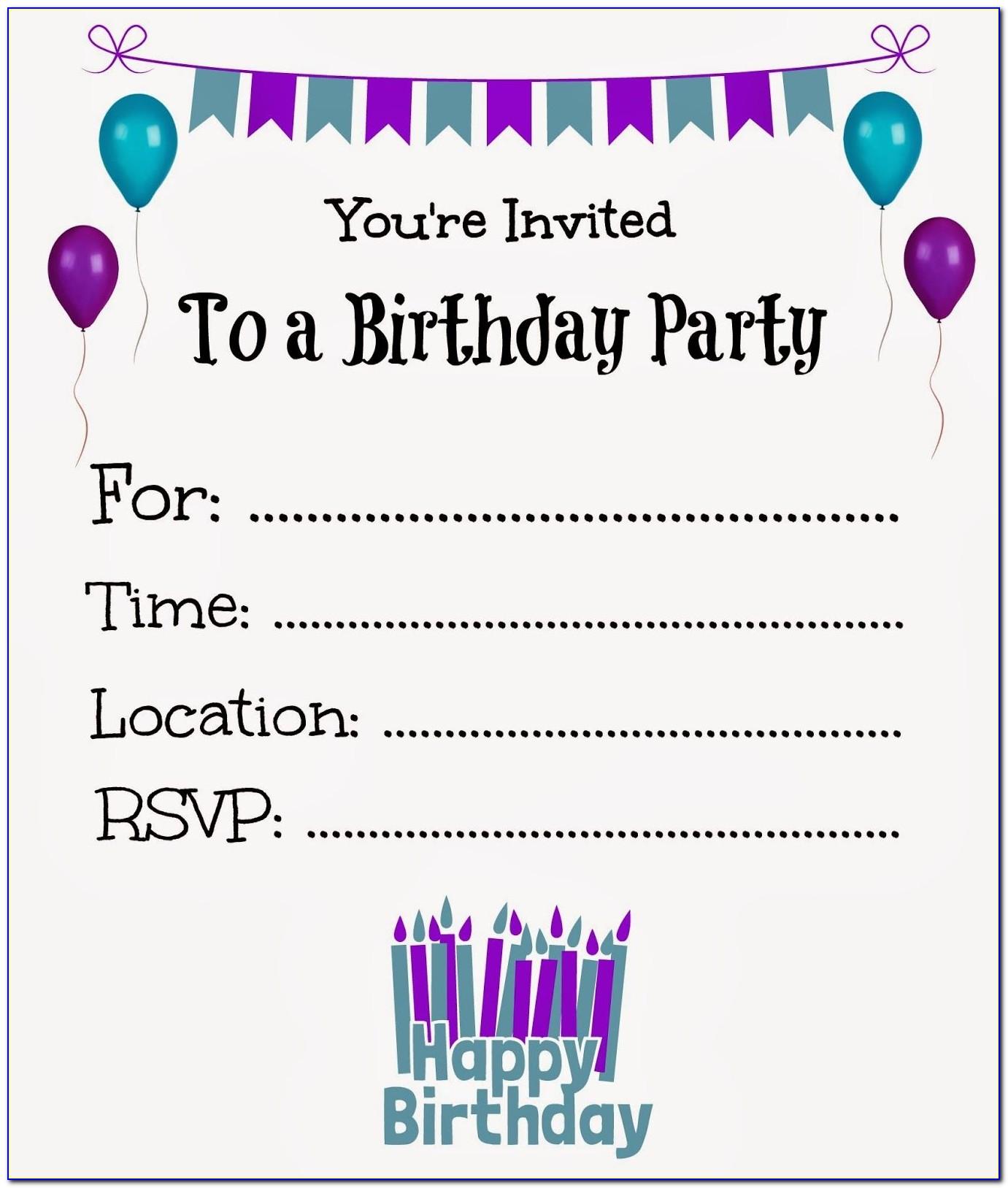 Birthday Party Invitation Templates Printable