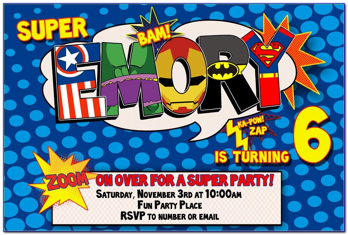 Blank Superhero Invitation Template