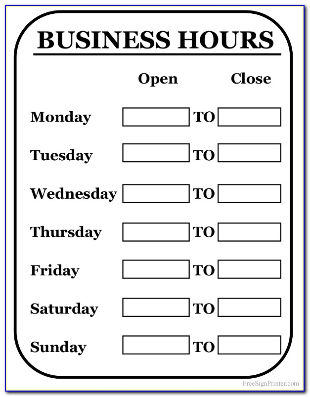 Business Hours Sign Template Free