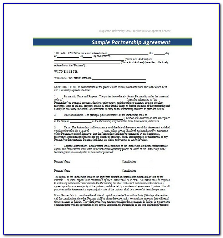 Business Partnership Agreement Template Pdf